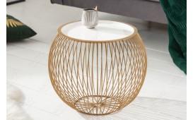 Designer Couchtisch  CAGE GOLD WHITE 41 cm