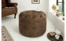 Pouf di design CHESTERFIELD ANTIK BROWN 60 cm-NATIVO™ Möbel Schweiz
