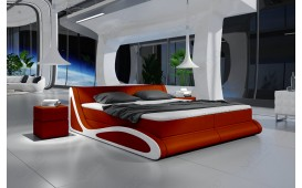 Lit boxspring SHUTTLE en cuir avec topper by ©iconX STUDIOS