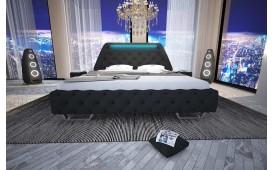 Designer Lederbett NEO mit LED Beleuchtung & USB Anschluss  (Schwarz) AB LAGER-NATIVO™ design meubelen Nederland