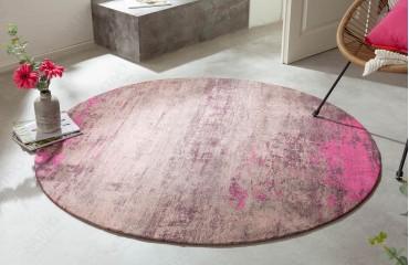 Designer Teppich ABSTRUSE PINK ROUND-NATIVO™️ Möbel Schweiz