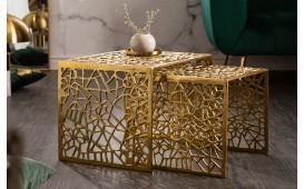 Designer Couchtisch MOZAIK GOLD SET 2