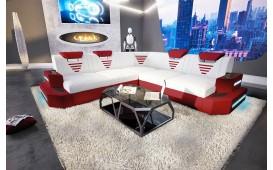 Canapé Design NEMESIS CORNER avec éclairage LED et port USB (Blanc / Rouge) EN STOCK