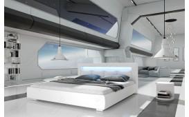 Designer Lederbett MOON inkl. LED Beleuchtung (Weiss) AB LAGER