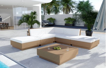 Lounge Set en rotin CORALE jardin (6 pièces) V1-NATIVO™️ Möbel Schweiz