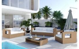 Salon Lounge en rotin GROOVE jardin (5 pièces) V2