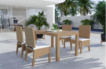 Rattan Lounge VICITA Esstischsatz (7tlg.) v1-NATIVO™️ Möbel Schweiz