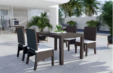 Rattan Lounge VICITA Esstischsatz (7tlg.) v2-NATIVO™️ Möbel Schweiz
