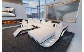 Canapé Design HERMES XL avec éclairage LED et port USB (Blanc / Noir) EN STOCK