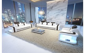 Canapé Design SPACE 3+2+1 avec éclairage LED (Blanc /Noir) EN STOCK