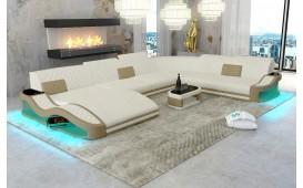 Canapé Design DIABLO XXL avec éclairage LED et port USB (ARIZONA White / Toffee) EN STOCK