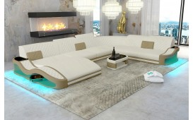 Designer Sofa DIABLO XXL mit LED Beleuchtung & USB Anschluss (ARIZONA White / Toffee) AB LAGER