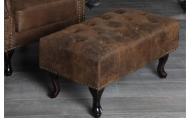 Designer Sitzhocker CHESTERFIELD ANTIK