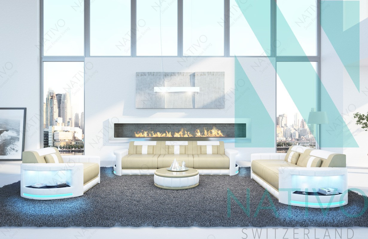 nativo meubles de luxe canap atlantis 3 2 1 ac clairage led. Black Bedroom Furniture Sets. Home Design Ideas