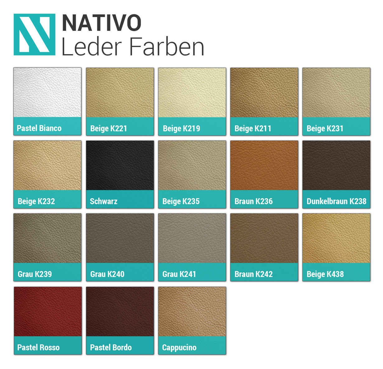 NATIVO Leder Farben