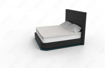 designer boxspringbett paris in leder inkl topper nativo schweiz. Black Bedroom Furniture Sets. Home Design Ideas